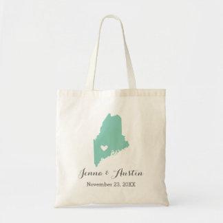 Aqua and Gray Maine Wedding Welcome Tote Bag