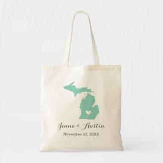 Aqua and Gray Michigan Wedding Welcome Tote Bag