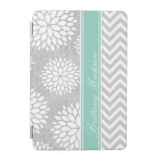 Aqua and Gray Monogram Chevron and Floral iPad Mini Cover