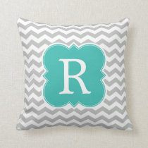 Aqua and Gray Monogram Chevron Pattern Throw Pillow