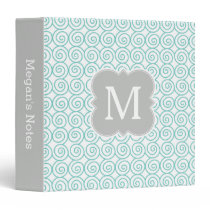 Aqua and Gray Monogram Elegant Pattern Binder