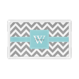 Aqua and Gray Monogrammed Chevrons Pattern Rectangle Serving Trays