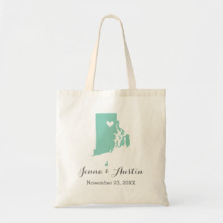 Aqua and Gray Rhode Island Wedding Welcome Tote Canvas Bag