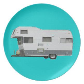 Aqua and Gray Vintage Travel Trailer 60's Melamine Plate
