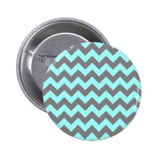 Aqua and Gray Zigzag Button
