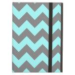 Aqua and Gray Zigzag iPad Cover