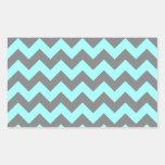 Aqua and Gray Zigzag Rectangle Stickers