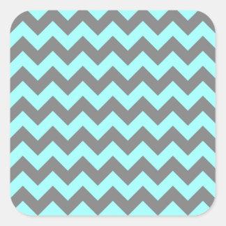 Aqua and Gray Zigzag Square Sticker