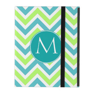 Aqua and Green Chevron Monogram iPad Case