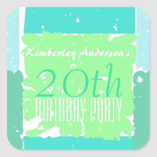 Aqua and Green Colors 20th birthday Stickers