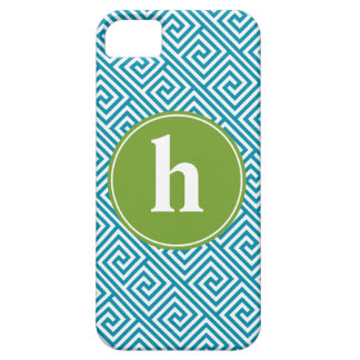 Aqua and Green Greek Key Pattern Monogram iPhone SE/5/5s Case