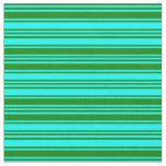 [ Thumbnail: Aqua and Green Lines Fabric ]