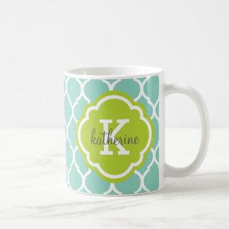 Aqua and Green Moroccan Quatrefoil Monogram Classic White Coffee Mug