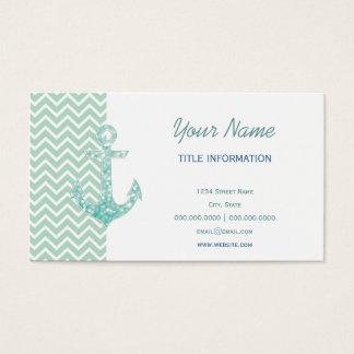 Aqua and Green Nautical Glitter Sparkles Anchor Business Card