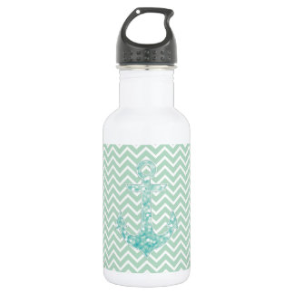 Aqua and Green Nautical Glitter Sparkles Anchor Stainless Steel Water Bottle