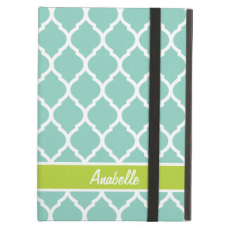 Aqua and Green Quatrefoil Monogram iPad Air Cover
