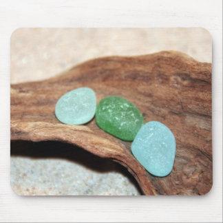 aqua and green seaglass mouse pad