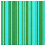 [ Thumbnail: Aqua and Green Striped Pattern Fabric ]