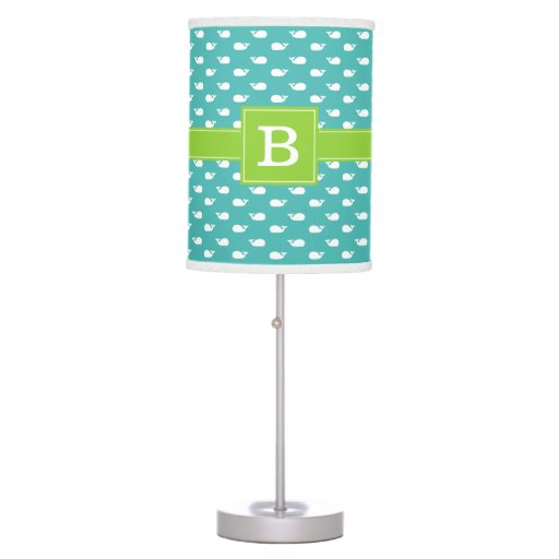 Aqua and Green Whimsical Whales Pattern Monogram Table Lamp