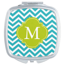 Aqua and Green Zigzag Pattern Monogram Vanity Mirror