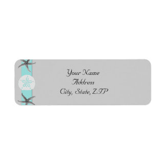 Aqua and Grey Band Starfish Return Address Label