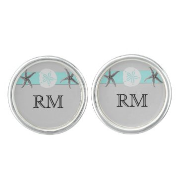 Beach Themed Aqua and Grey Band Starfish Wedding Cuff Links