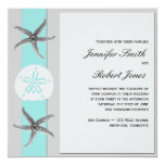 Aqua and Grey Band Starfish Wedding Personalized Announcement