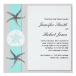 "Aqua and Grey Band Starfish Wedding 5.25"" Square Invitation Card"