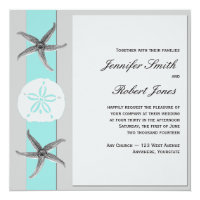 Aqua and Grey Band Starfish Wedding Invitation