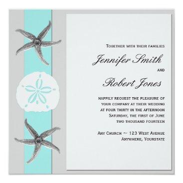 Beach Themed Aqua and Grey Band Starfish Wedding Invitation