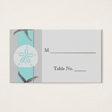 Beach Themed Aqua and Grey Band Starfish Wedding Place Cards