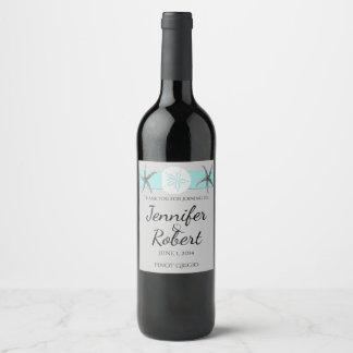Aqua and Grey Band Starfish Wine Label