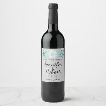 Beach Themed Aqua and Grey Band Starfish Wine Label