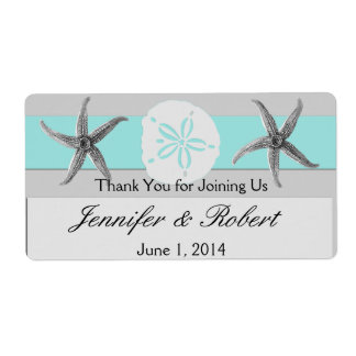 Aqua and Grey Band Wedding Water Bottle Label