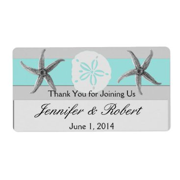 Beach Themed Aqua and Grey Band Wedding Water Bottle Label