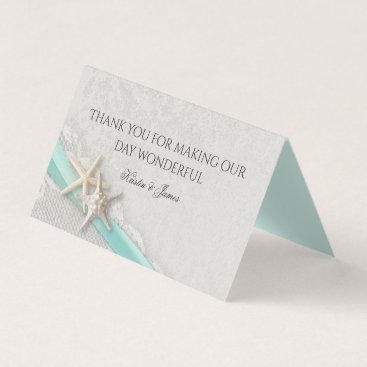 Beach Themed Aqua and Grey Beach Starfish and Ribbon Place Card