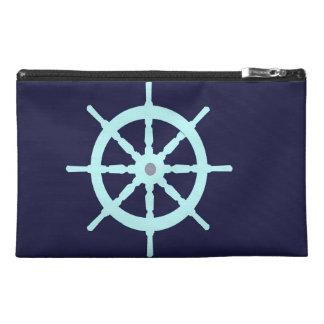 Aqua and Grey Ship s Wheel Travel Accessories Bag