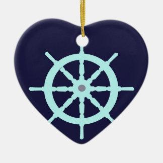 Aqua and Grey Ship's Wheel. Ceramic Ornament