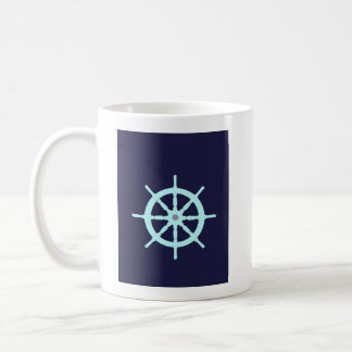 Aqua and Grey Ship's Wheel. Coffee Mug