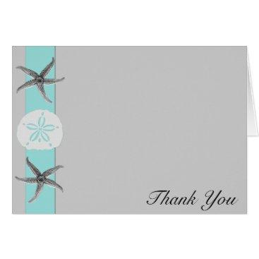 Beach Themed Aqua and Grey Starfish Wedding Thank You Card