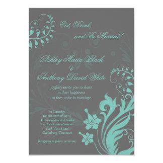 Aqua and Grey Vintage Floral Wedding Invitation