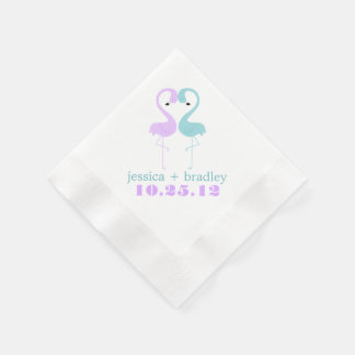 Aqua and Lavender Flamingos Beach Wedding Paper Napkin