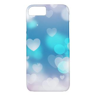 Aqua and lavender hearts iPhone 7 case