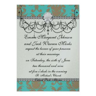 aqua and light brown formal damask card