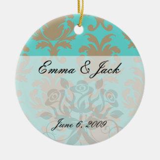 aqua and light brown formal damask ceramic ornament