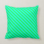 [ Thumbnail: Aqua and Lime Colored Stripes Throw Pillow ]