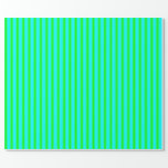 [ Thumbnail: Aqua and Lime Colored Stripes Wrapping Paper ]