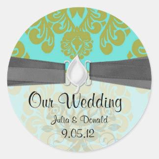 aqua and lime green ornate damask wedding classic round sticker