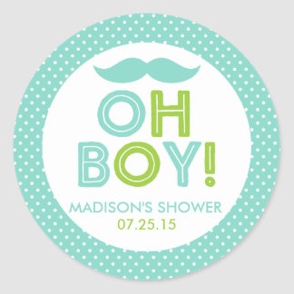 Aqua and Lime Green Polka Dot Oh Boy Baby Shower Classic Round Sticker