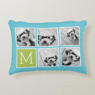 Aqua and Lime Instagram 5 Photo Collage Monogram Decorative Pillow